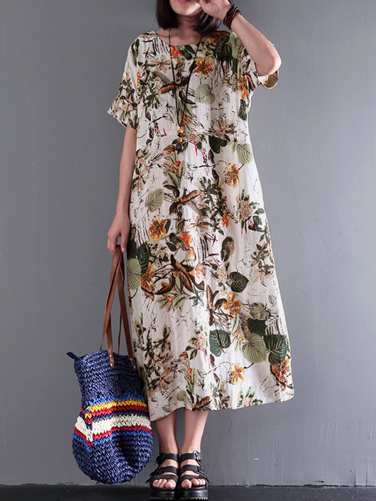 Women Vintage Short Sleeve Cotton Floral Maxi Dress