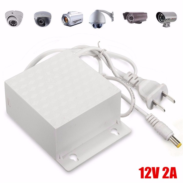 12V 2A DC AC Waterproof Adapter Power Supply Outdoor 5.5mmx2.5mm for CCTV Security Camera LED Strip