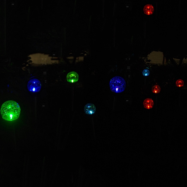 Solar Powered RGB Crackle Glass Ball Spike Lawn Light Outsoor Garden Landscape Pathway Lamp