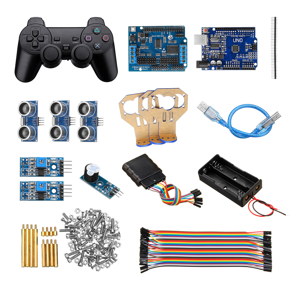 Handle Control Automatic Tracking 3 Channel Ultrasonic Obstacle Avoidance Kit UNO R3 Motor Driver Board Smart Robot Tank Car Chassis Control Kit