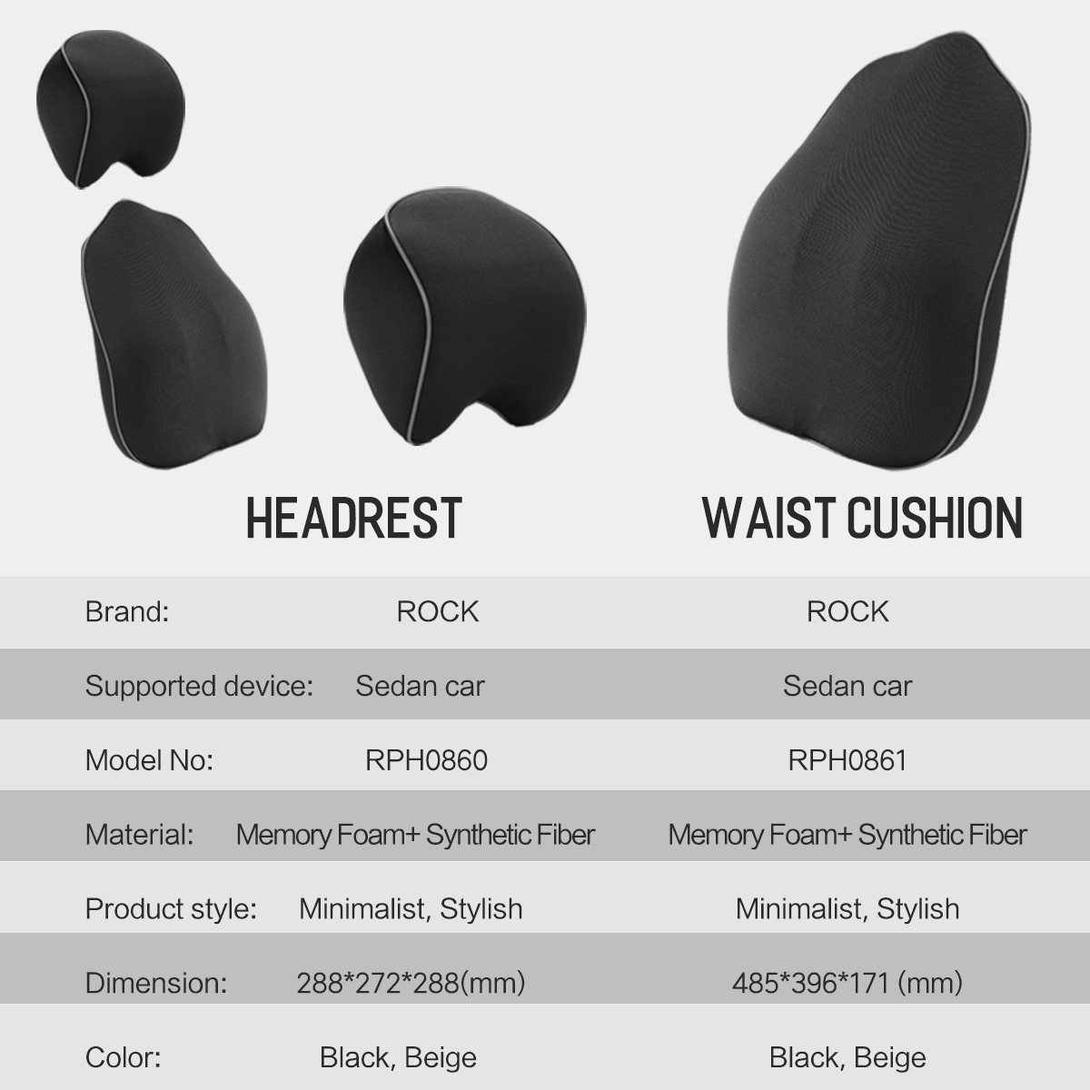 ROCK Car Seat Headrest Pillow Space Memory Foam Neck Lumbar Waist Back Support Cushion