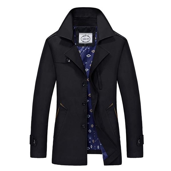 Mens Spring Autumn Turn-down Collar Jacket Fashion Casual Business Single-breasted Trench Coat