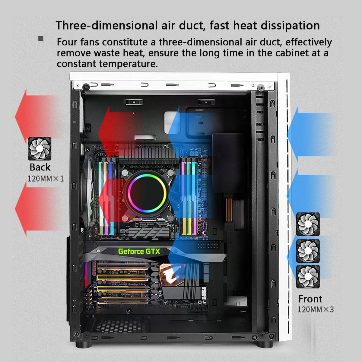 Gaming pc case Acrylic transparent side panels Electric contest gaming with RGB belt support USB3.0 4 Cooling fan 2SSD 1HDD 310mm Graphics card 3 size of mainboard Computer Case