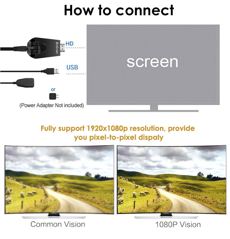 Mirascreen K4 1080P HD Miracast Air Play DLNA Mirroring Display Dongle TV Stick