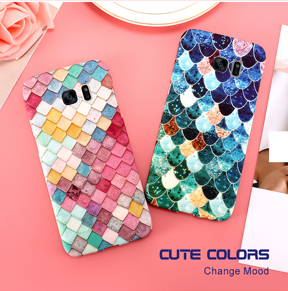 KISSCASE Glowing Colorful Grid Mermaid 3D Girly Cover Case for Samsung Galaxy S7 Edge