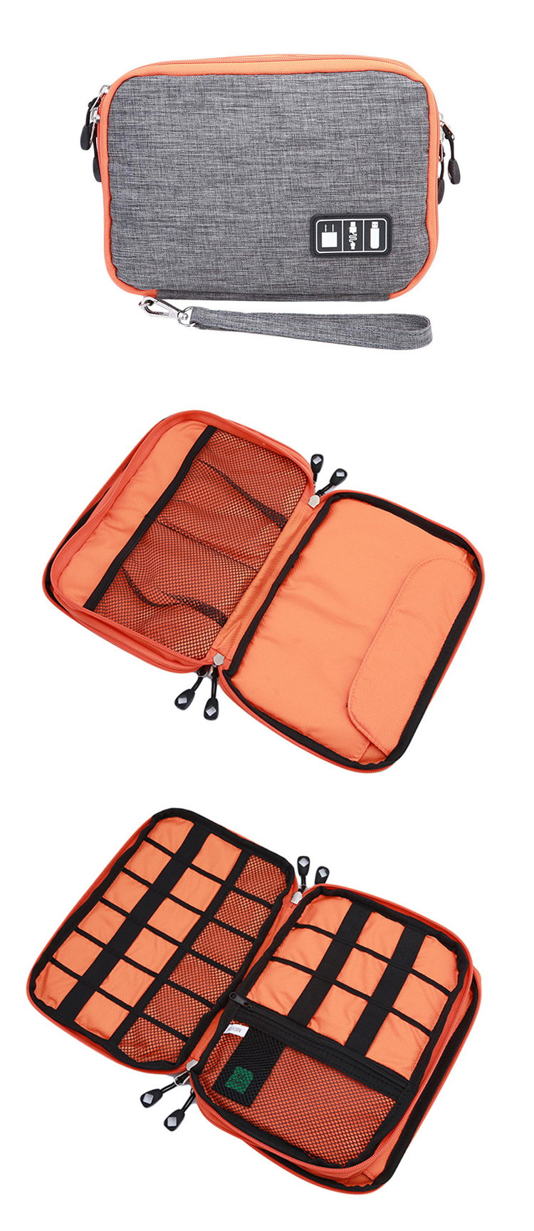 Honana HN-CB1 Double Layer Cable Storage Bag Electronic Accessories Organizer Travel Gear