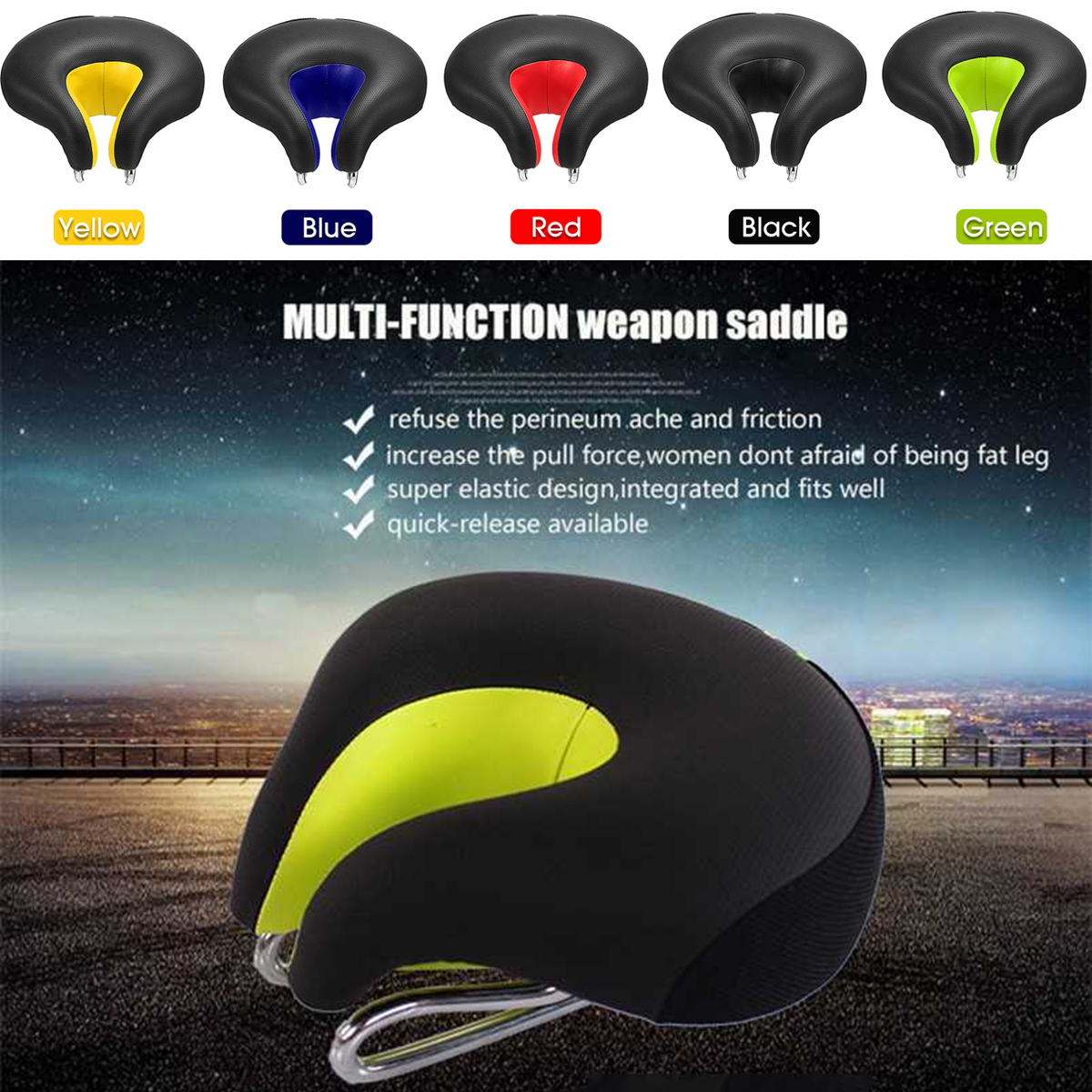 BIKIGHT Bike Bicycle Saddle Soft Breathable Waterproof Sponge Cushion Ergonomic MTB Cycling Seat