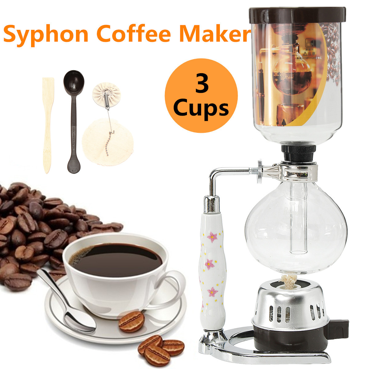 3 Cups Glass Syphon Coffee Maker Machine Brewer Siphon Vacuum Pot Filter Bottle Coffee Tools