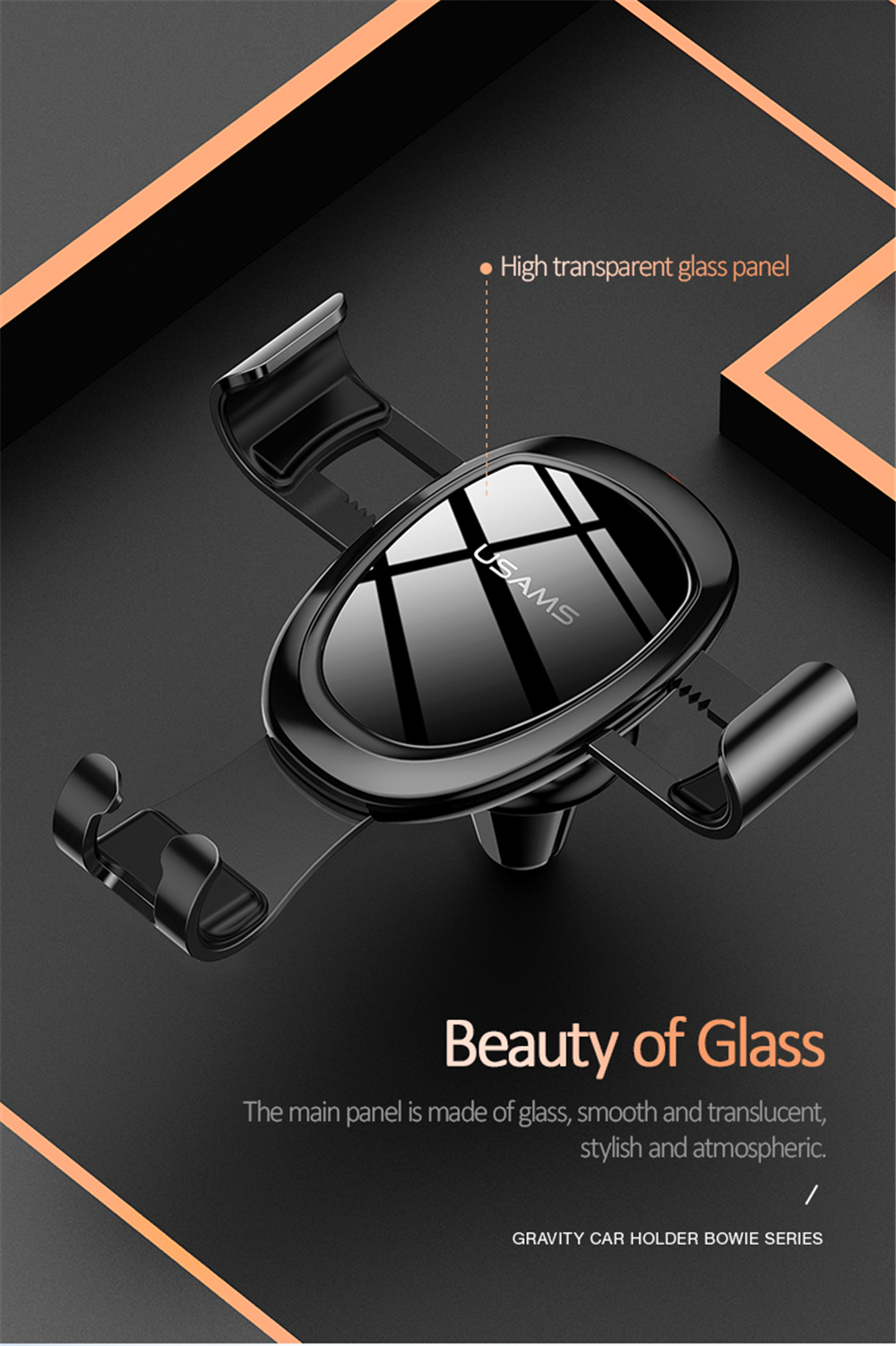 USAMS Alloy Car Phone Holder Air Vent Mount Glass Panel 360° Rotation for iPhone XS/ Xiaomi