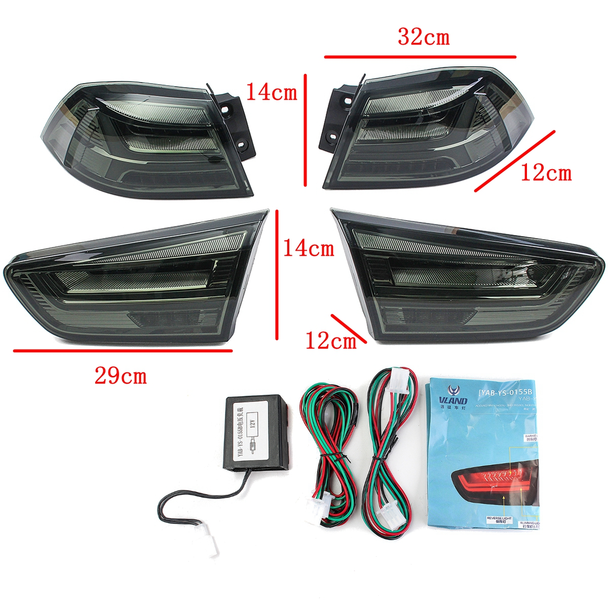 Pair 12V Car LED Rear Tail Light Turn Signal Lamp for Mitsubishi Lancer / EVO x 2008-2017