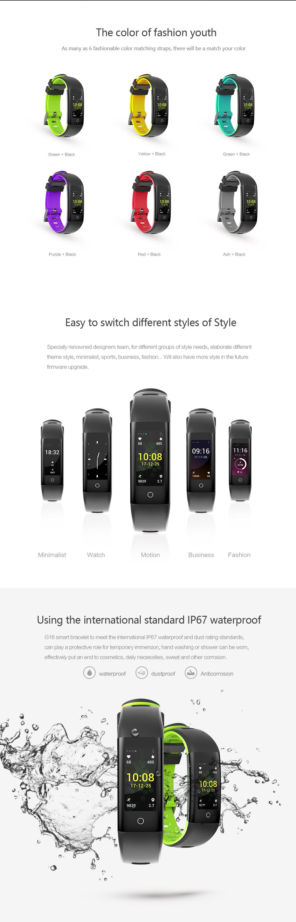 Bakeey G16 0.96 inch Color Screen Blood Pressure Heart Rate Monitor Smart Watch for iOS Android