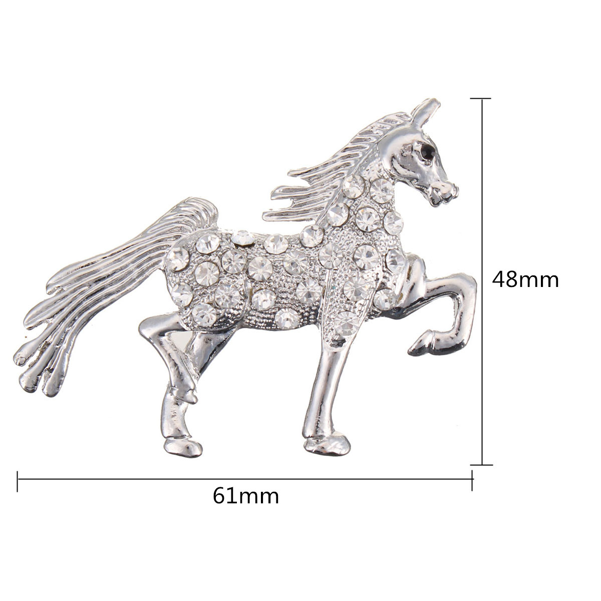 Crystal Rhinestone Brooch Unicorn Horse Pin Ribbon Buckle