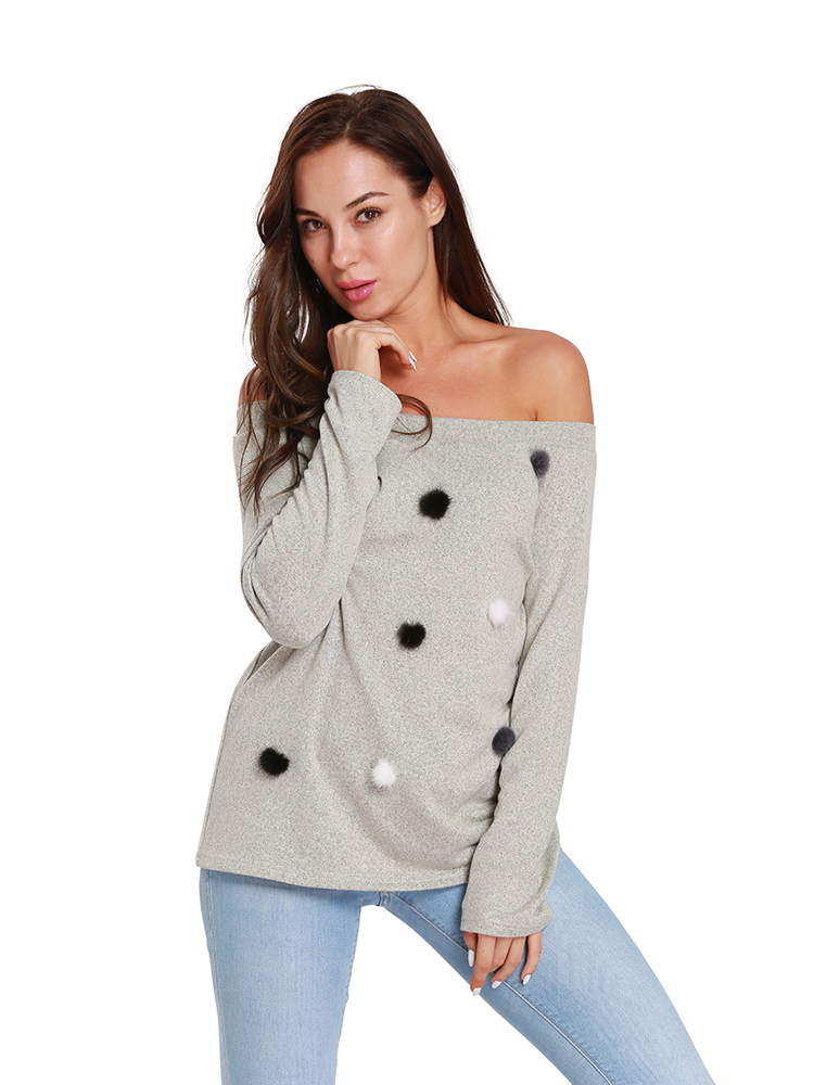 Women Solid Color Off Shoulder Decorated Ball Sweaters
