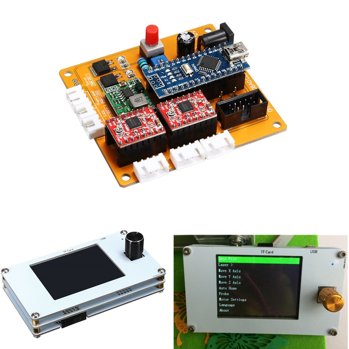 2 Axis Offline Control System Board with TFT LCD Panel for DIY CNC Laser Engraving Machine GRBL