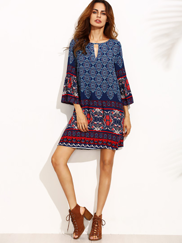 Bohemian Floral Trumpet Sleeve Mini Dress