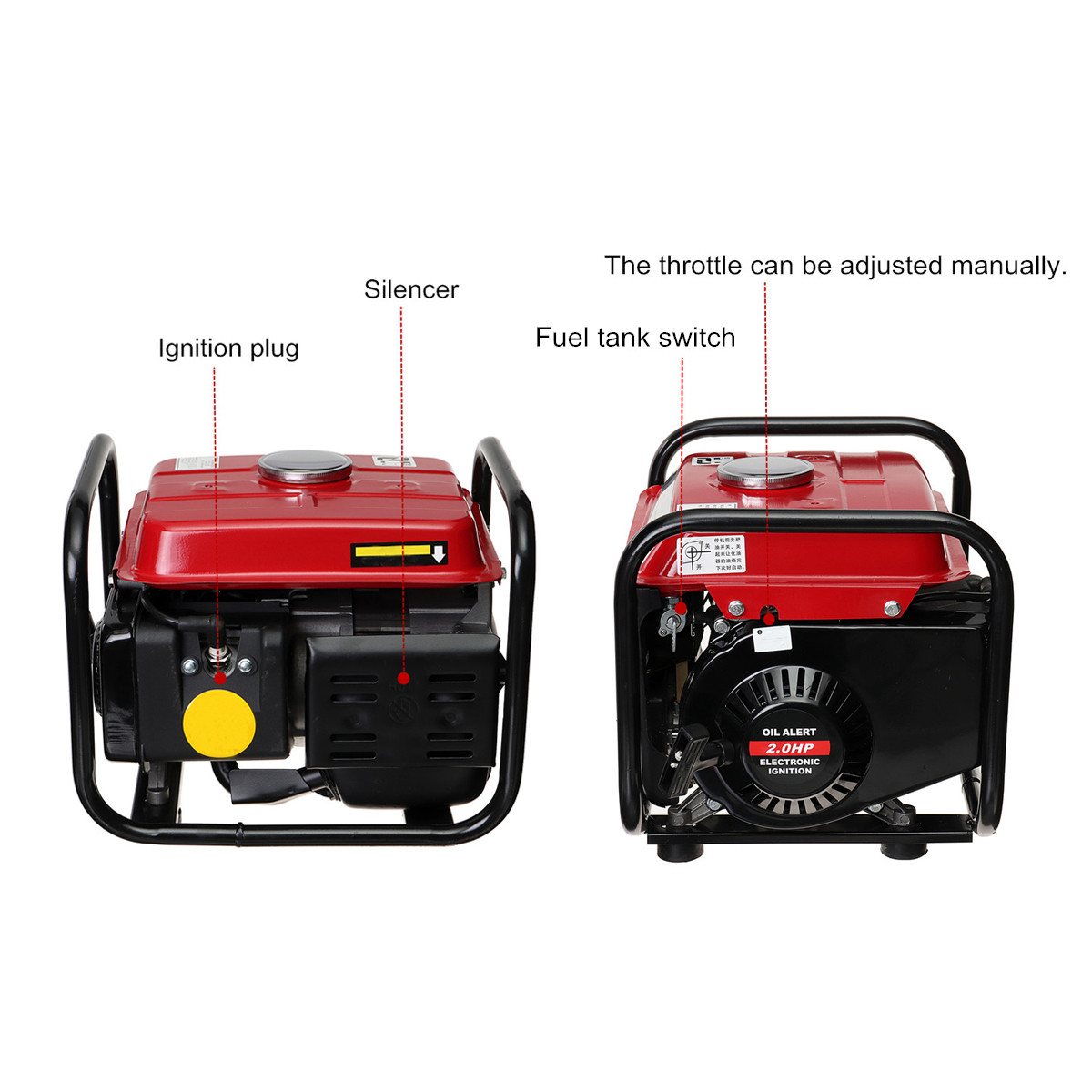 220V 1000W Portable Gas Inverter Generator Emergency Outdoor Home Back Up Power