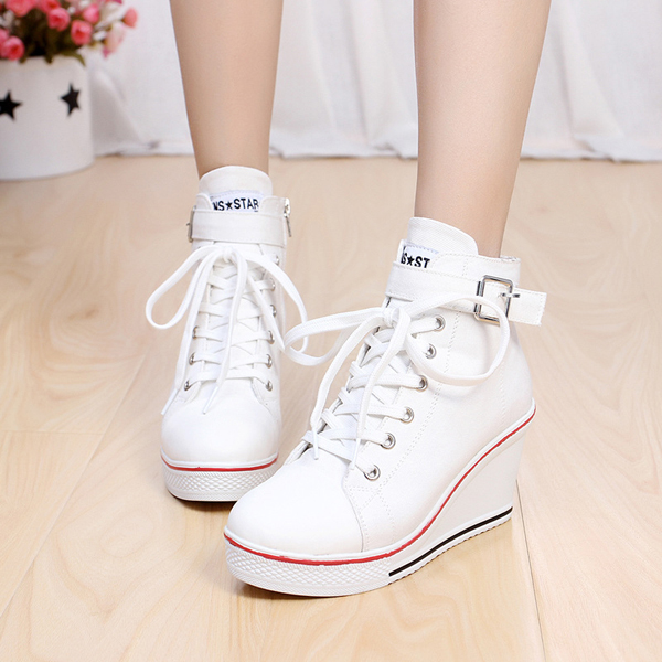 Big Size Women Canvas Shoes Lace Up Buckle Wedge Heel Casual Shoes