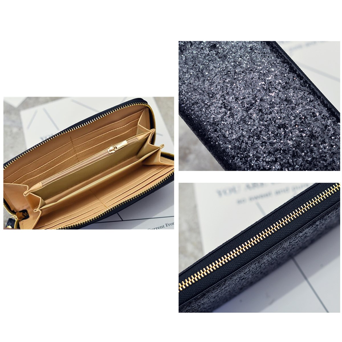 Universal 5.5 Inch Sequins Functional Phone Wallet Case Cover For iPhone Xiaomi Samsung Huawei