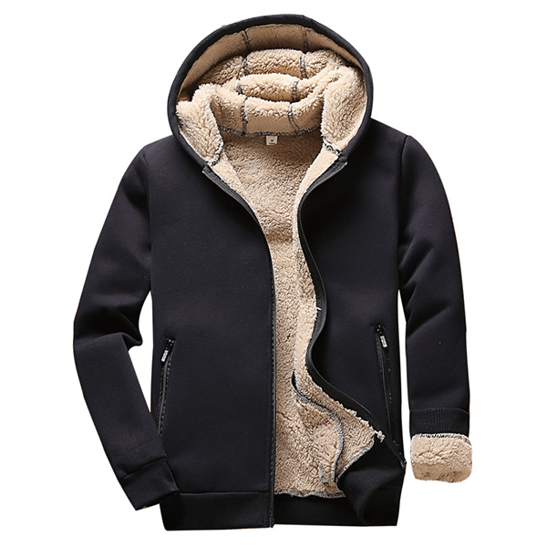Outdoor Zip Up Fleece Lining Hoodies