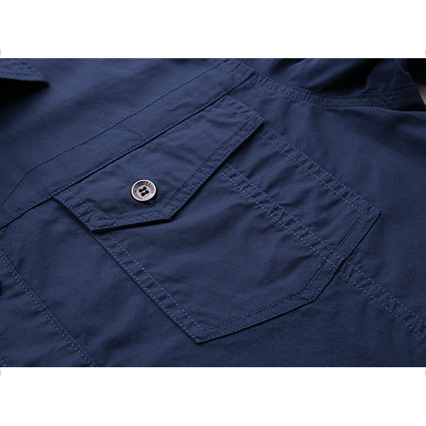 Plus Size S-4XL Chest Pockets Cotton Casual Cargo Work Shirt