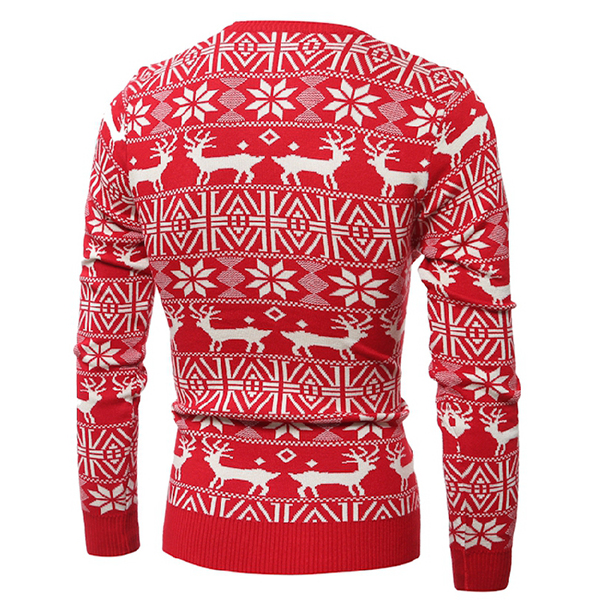 Mens Fashion Deer Pattern Knitted Sweater O-neck Collar Casual Slim Fit Pullover Sweater