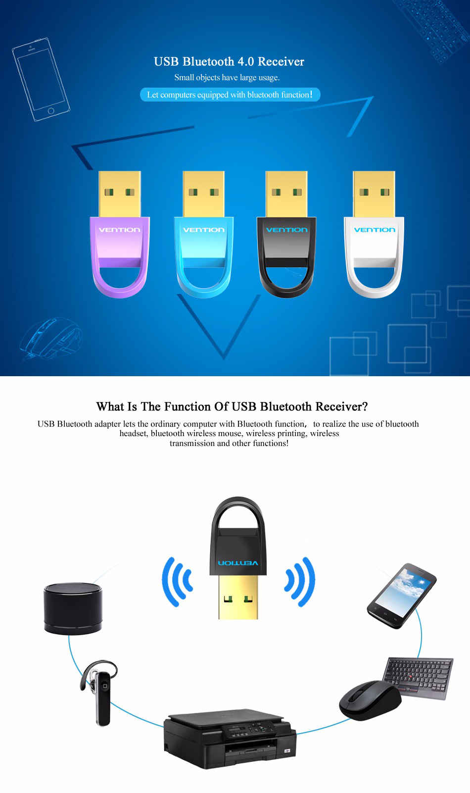 Vention Mini USB Bluetooth 4.0 Adapter Bluetooth Dongle for Desktop PC Computer