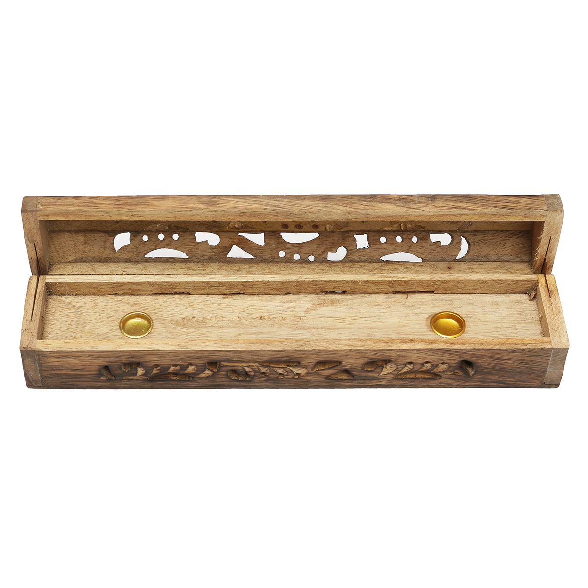 Mango Wooden Incense Stick Holder Burning Joss Box Inlay Cone Burner Ash Catcher
