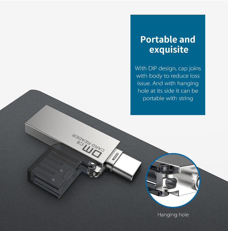 DM 2 in 1 Metal Portable Type-c OTG USB 2.0 TF Memory Card Reader for Xiaomi Mobile Phone Tablet PC