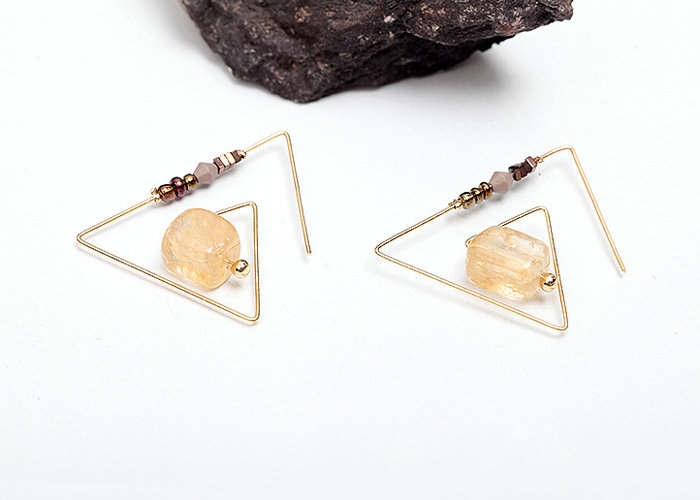 Retro Geometric Triangle Natural Crystal Stone Women Earrings
