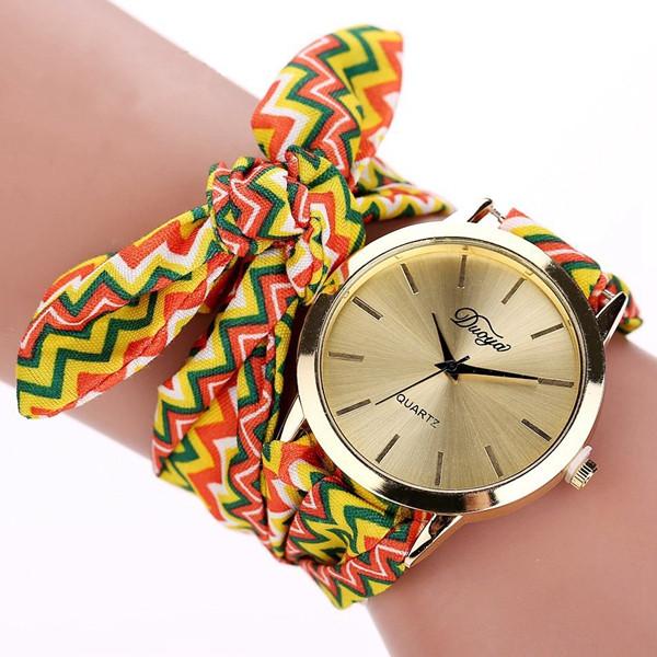 DUOYA Brand Retro Folk Custom Ear Cloth Strap Casual Ladies Wrist Watch Analog Women Quartz Watch