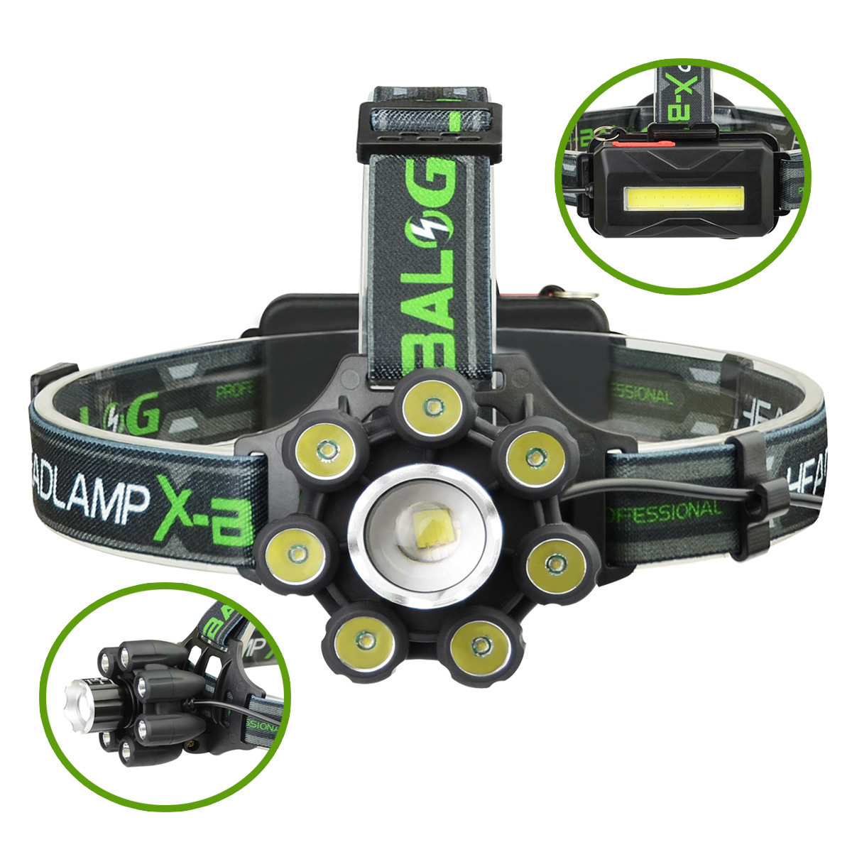 XANES BL-T88-B6 3350LM T6-7XPE 6 Modes Telescopic Zoom Cycling Hunting Camping Outdoor LED Headlamp USB Charging Interface