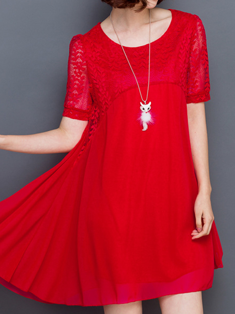 Elegant Women Chiffon Lace Patchwork Short Sleeve Dresses