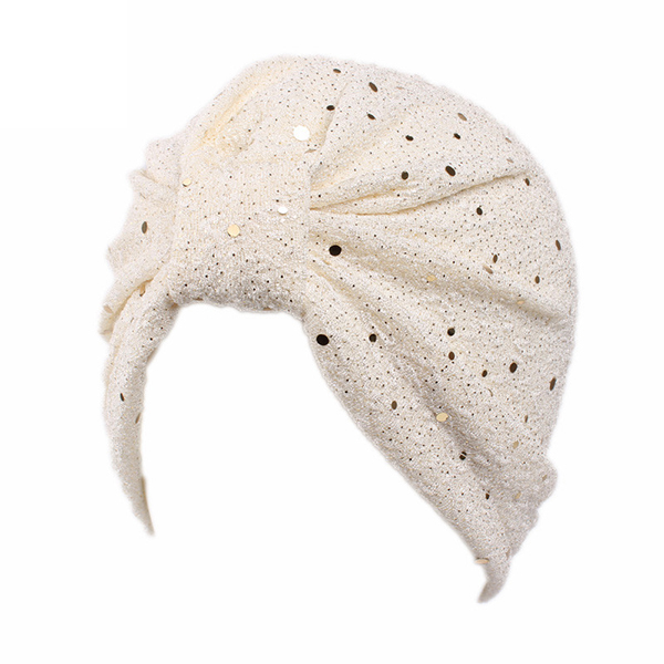 Women Sequins Solid Breathable Turban Cap