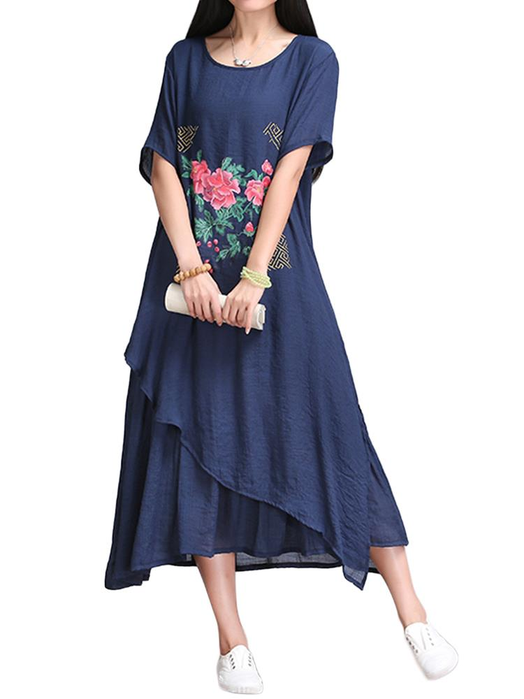 Chinese Style Women Flower Printed Pleats Linen Swing Dress