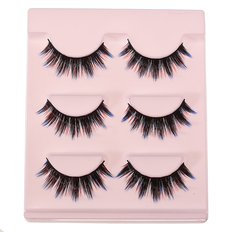 3D False Eyelashes Set Colorful False lashes Makeup Natural Eyelashes Extension for Stage Nightclub Party