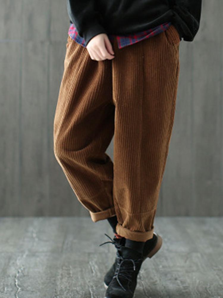 Women Pure Color Drawstring Waist Corduroy Pant