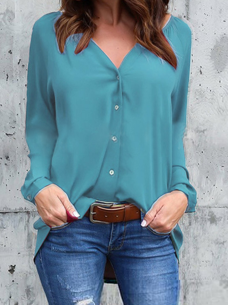 Women Long Sleeve Buttons V-neck Chiffon Loose Casual Blouse