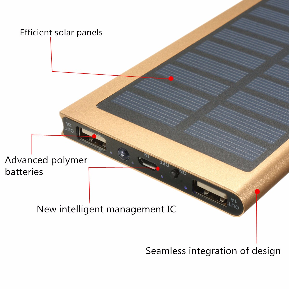 8000mAh Ultrathin Solar Battery Charger Power Bank For iPhone iPad Tablets Smart Phone