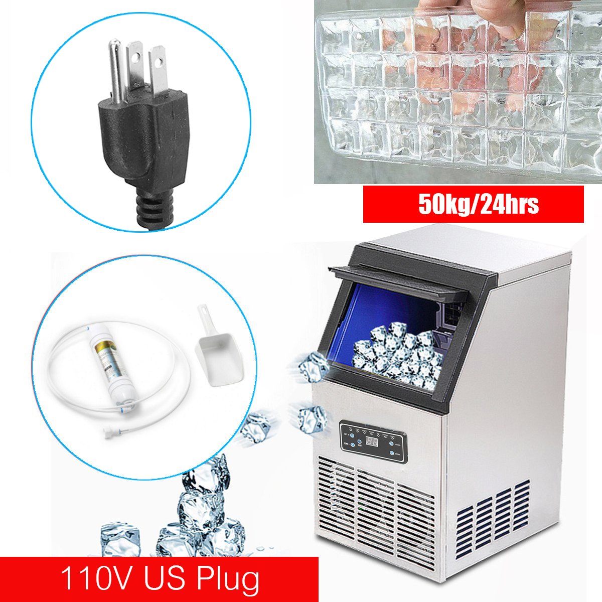 110Lbs Auto Commercial Ice Cube Maker Machine Stainless Steel Bar 110V 230W US Plug