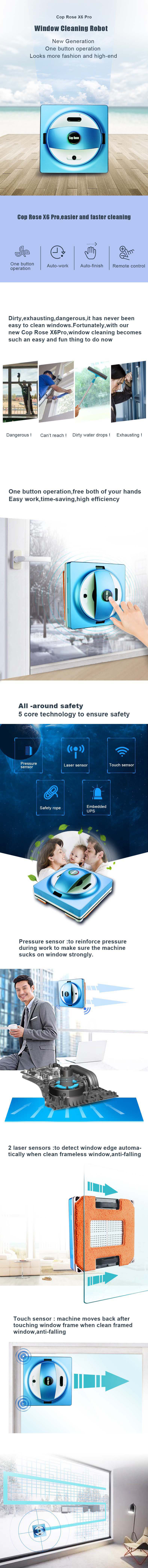 Cop Rose X6 Pro Smart Home Automatic Remote Control Window Cleaning Robot Window Cleaner