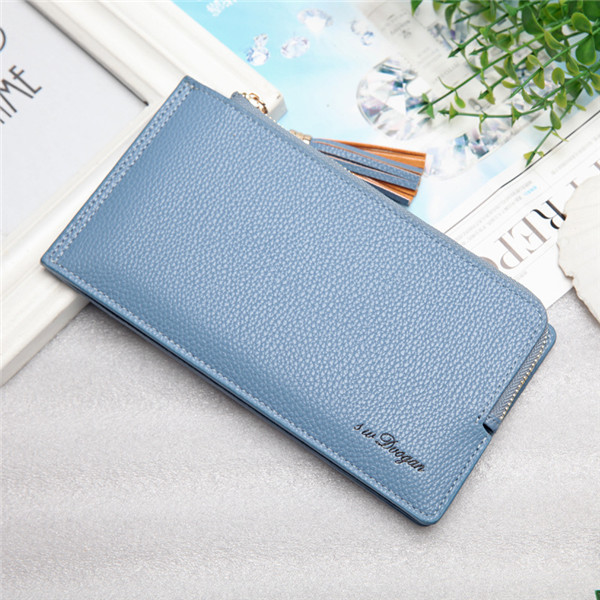 Women Tassel Long Card Holder Candy Color Zipper Purse Coin Bags 5.5'' Phone Case For Iphone 7P