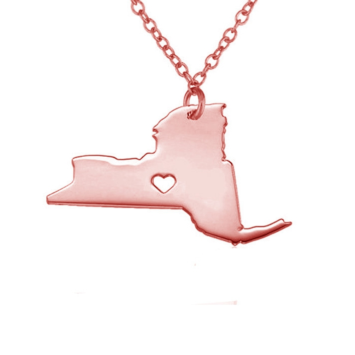 United States New York Map Love Heart Pendant Silver Necklace