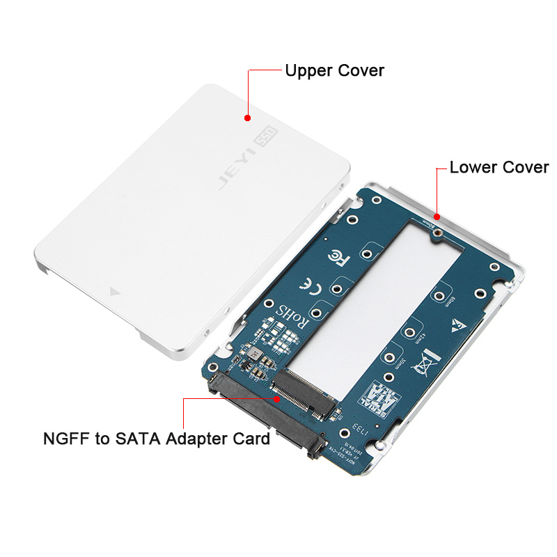 JEYI SN7 NGFF To SATA SSD BOX 2.5' Hard Disk Enclosure All Aluminum Structure M.2 Adapter Card