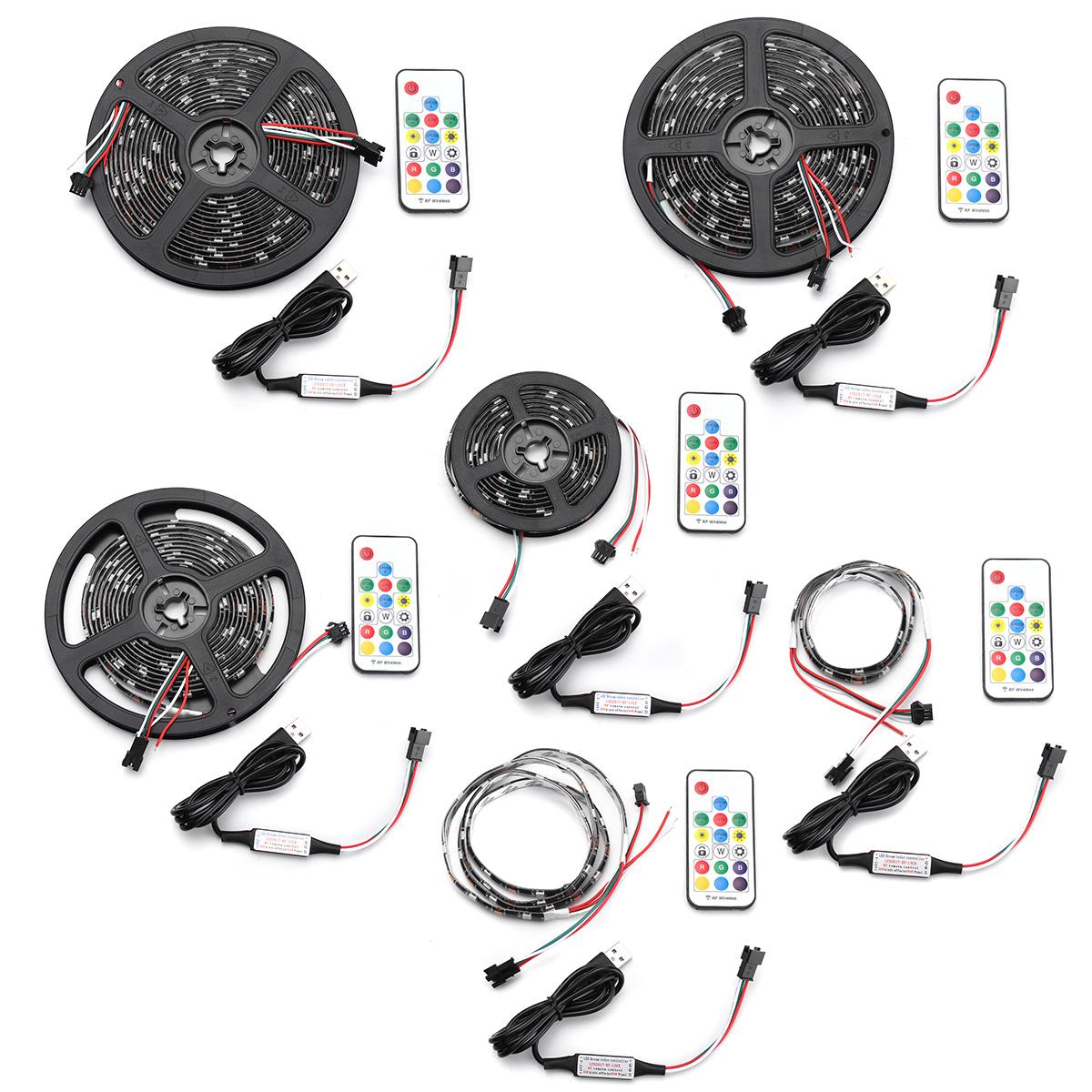 0.5M / 1M/2 M / 3M/4 M / 5 M DC5V USB RGB 5050 WS2812 Étanche LED TV Back Strip Lumière + Télécommande Kit
