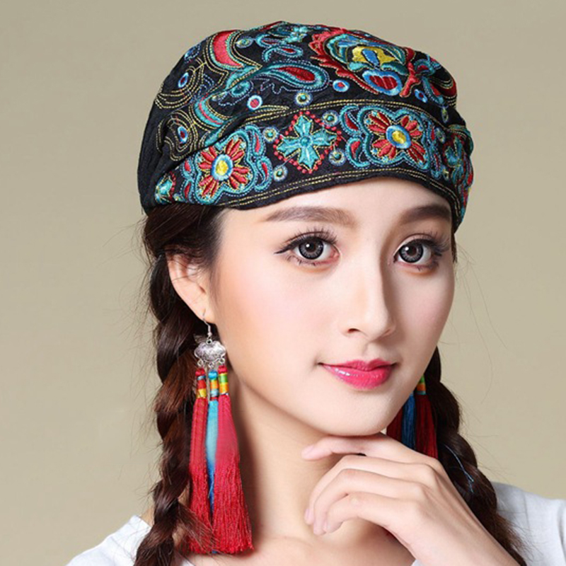 Women Ethnic Embroidery Cotton Beanie Caps Turban