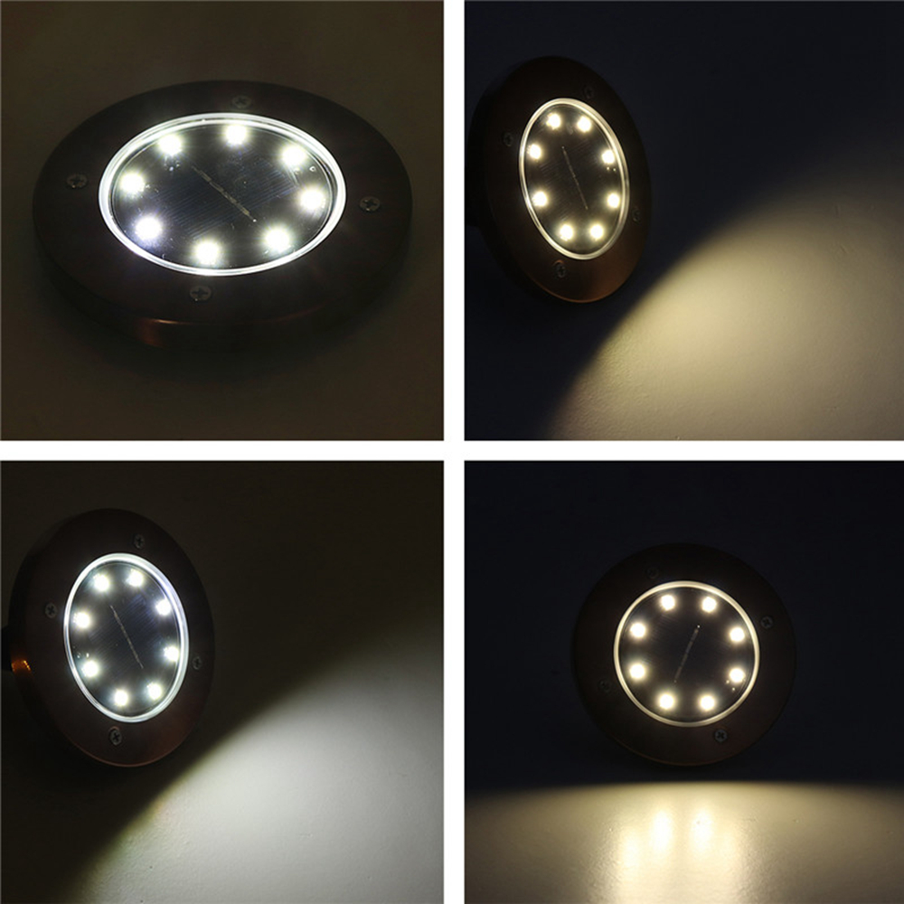 Bronze 8 LED Solar Light Buried Ground Lamp Light Sensor Solar Garden Light Outdoor Path Way Deck