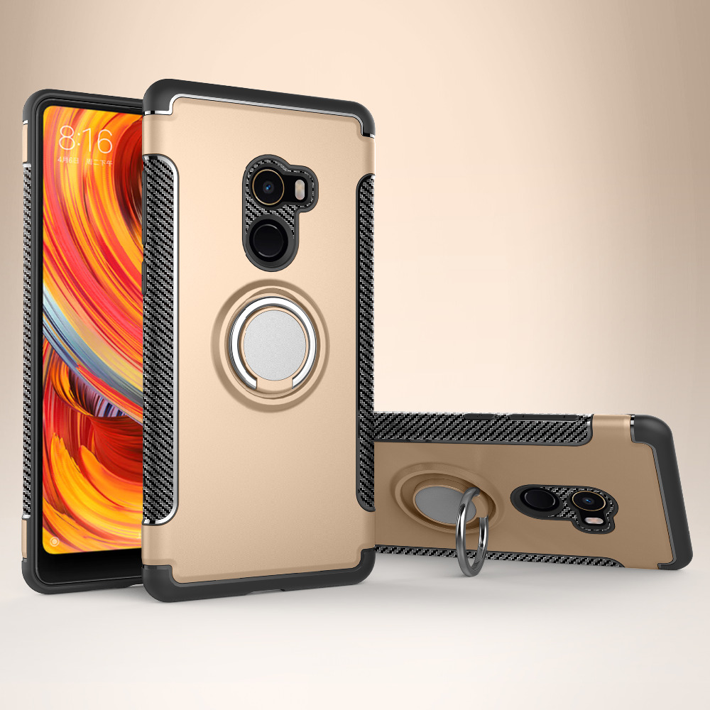 Bakeey Armor Shockproof Magnetic 360° Rotation Ring Holder TPU PC Protective Case For Xiaomi Mix 2