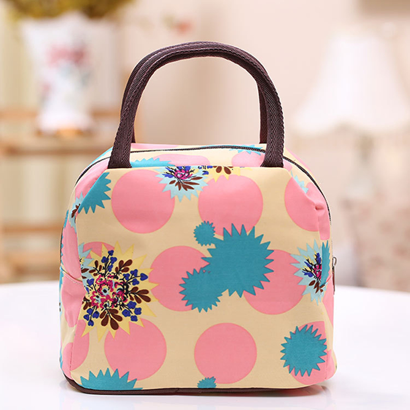 Woman Lady Printing Handbag Waterproof Canvas Lunch Bag Travel Food Storage Containers Organizer