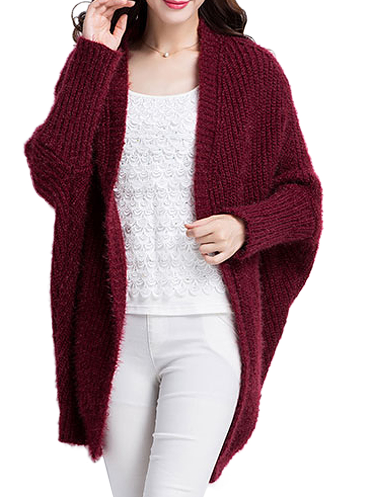 Wine Red Patchwork Bat Sleeve Long Knitting Cardigan