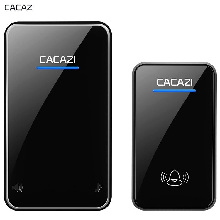 CACAZI Wireless Doorbell Waterproof DC 12V 300M Remote Door Bell Chime Ring 110dB 1 Button Receiver